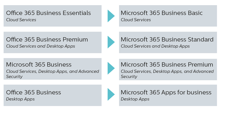 Microsoft 365 for business new names
